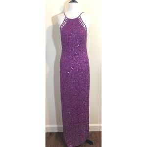 Scala Purple Sequined/Beaded Full Length Gown